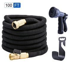 VinMas Garden Expandable Hose with High Strength Polyester Outer Layer, Double Layer Latex Core and Solid Brass Fittings Come with Multifunctional Spray Nozzle Cleaning Vinyl Siding, Hose Holder, Water Hose, Brass Fittings, Best Camera, Garden Hose, Amazing Gardens, Solid Brass, Leather
