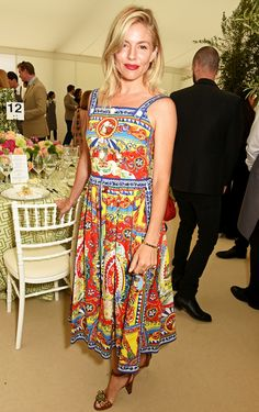 Sienna Miller in a patterned Dolce & Gabbana midi dress