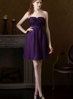 2015 Strapless Grape Chiffon Short Bridesmaid Dress 7427