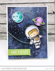 card space travel journey galaxy moon planets austronaut starry nighr sky MFT Space Explorer Stamp Set and Die-namics - Jodi Collins Boy Cards, Kids Cards, Lawn Fawn Stamps, Interactive Cards, Distress Oxide Ink, Mft Stamps, Space Theme, Greeting Cards Handmade, Cardmaking