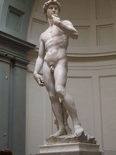 David is a masterpiece of Renaissance sculpture created between 1501 & by the Italian artist Michelangelo. A male nude representing the Biblical hero David was sculpted in marble. The statue is currently housed in the Galleria dell'Accademia, Florence Michelangelo, Art Ninja, Renaissance Kunst, Italian Artist, Love Art, Art Museum, Sculpture Art, Art History, Art Photography