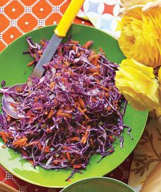 Crunchy and tangy, this cabbage slaw cuts through the richness of most traditional cookout foods. Healthy Meals For Two, Healthy Crockpot Recipes, Healthy Side Dishes, Healthy Snacks, Healthy Eats, Barbecue Sides, Barbecue Side Dishes, Cabbage Slaw, Red Cabbage