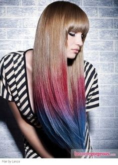 Pink/Blue Dip-Dyed Hair Color http://www.gallery.becomegorgeous.com/hair_highlights_ideas/pinkblue_dipdyed_hair_color-5840.html