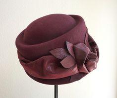 "womens wool cloche, winter felt hat, wool felt cloche hat, ruby red hat, vintage inspired  ""RUBY LOVE"". $48,00, via Etsy."