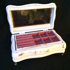 Footed White Jewelry Box distressed Shabby chic Jewelry storage with pink interior velvet by EllasAtticVintage on Etsy