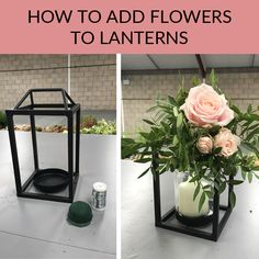 Step by step video guide, how to add flowers to lanterns. Use lanterns for wedding centrepieces / hang up at your wedding venue.