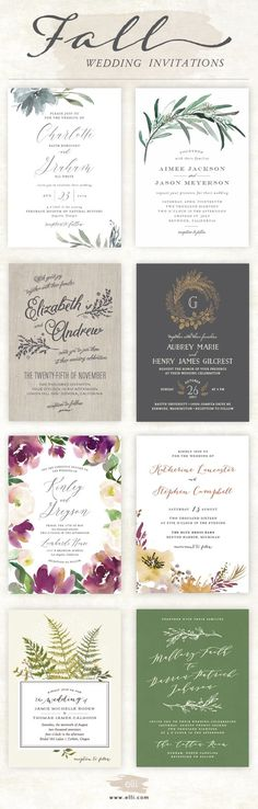 Top wedding invitations for Fall. Click here to see more stunning fall designs.