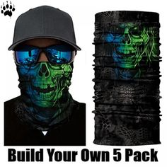 Protect yourself from the elements with the Hippy Skull Face Shield from Bushpro Outdoors. Bandana, Joker Clown, Motorcycle Face Mask, Skull Face, Scarf, Skull Print, National Flag, Neck Scarves, Modern Man