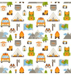 Hiking seamless pattern with flat camping elements on VectorStock