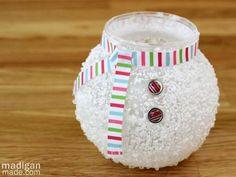 Epsom Salt Snowman Candle Holder @ Craft Gossip