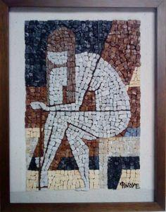 The girl unstraps her sandals. (mosaic interpretation of the artwork G. Moralis)  mosaic from  Eftychia Finou