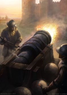 """""""The Bombard. The Bombard was a mediaval weapon, kinda the ancestor of modern canons. Made for the game """"JOAN of ARC """" Fantasy Battle, Dark Fantasy, Fantasy Art, Medieval Armor, Medieval Fantasy, Military Tactics, Witcher Art, Fantasy Pictures, Character Portraits"""