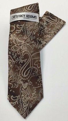 Stacy Adams Tie & Hanky Set Brown & Khaki Paisley Men's Hand Made #StacyAdams #Tie