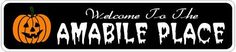 AMABILE PLACE Lastname Halloween Sign - Welcome to Scary Decor, Autumn, Aluminum - 4 x 18 Inches by The Lizton Sign Shop. $12.99. 4 x 18 Inches. Great Gift Idea. Predrillied for Hanging. Rounded Corners. Aluminum Brand New Sign. AMABILE PLACE Lastname Halloween Sign - Welcome to Scary Decor, Autumn, Aluminum 4 x 18 Inches - Aluminum personalized brand new sign for your Autumn and Halloween Decor. Made of aluminum and high quality lettering and graphics. Made to last f...
