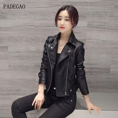 >> Click to Buy << PADEGAO 2017 New Women Faux Leather Jacket Slim Long Sleeve Faux PU Leather Zipper Coat Lady Sexy Black Motorcycle Jacket Hot #Affiliate
