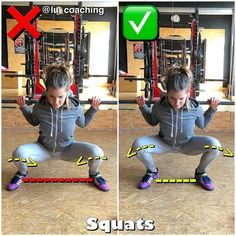 correct setting of knees in squats with a barbell