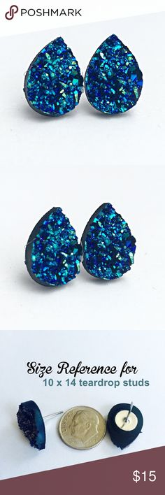 """3 for 15 blue Druzy style teardrop studs PLEASE DO NOT BUY THIS LISTING.Please comment """"Bundle"""" under the items you'd like so I can make a listing.  Handmade by me blue iridescent Drusy style 10 x 14mm earrings on a silver tone lead& nickel free post. Silver backs. 3 pairs for $15. Minimum charge $15. Additional pairs $5. Price firm. Can mix/match any 3 for 15 items. Each piece varies slightly in shape. Faux ore texture. Made of acrylic resin. Add to bundle won't calculate correct amount…"""