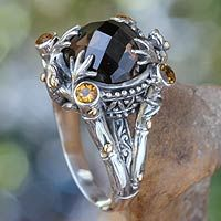 NOVICA - Bali - Kadek Hendra 'Tropical Frogs' smoky quartz and sterling silver with gold accent cocktail ring. <3