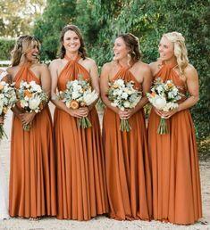 Simple Dark Orange Halter Chiffon Bridesmaid Dress ,Long Bridesmaid Dresses for Wedding Burnt Orange Bridesmaid Dresses, Backless Bridesmaid Dress, Off Shoulder Bridesmaid Dress, Wedding Bridesmaid Dresses, Wedding Party Dresses, Party Gowns, Prom Dress, Bridesmaid Proposal, Marie