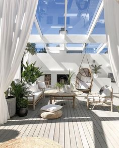 White deck with glass roof Patio Design, House Design, Terrace Design, Terrace Decor, White Deck, Shade House, Nordic Living, Style Deco, Online Furniture Stores