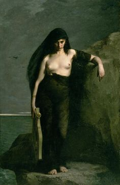 Charles August Mengin - Sappho, 1877. Sappho was a Greek poet who lived around 600 BC. She wrote about love, yearning and reflection, often dedicating her poems to the female pupils who studied with her on the island of Lesbos.