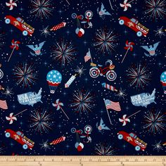 Riley Blake Parade on Main Navy Fabric