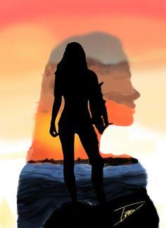 Chica Surf - Primer dibujo con tableta grafica
