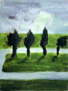 14x18cm #oilpainting #dutch #landscape | 4 Bomen net voorbij Ter Aar | www.lotjemeijknecht.nl