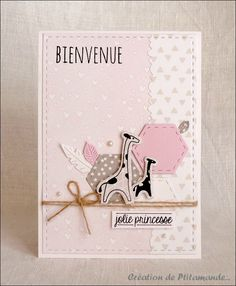 Carte naissance girafe fillette (2) Pretty Cards, Cute Cards, New Baby Cards, Welcome Baby, Animal Cards, Card Tags, Handmade Baby, Kids Cards, Greeting Cards Handmade