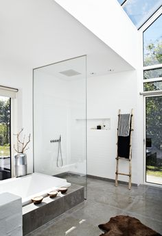 bathroom with concrete floors, etc. only thing missing is the bench in the shower and bars to help you