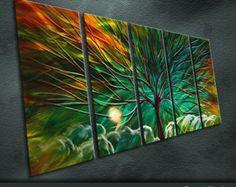 "Original Handmade Metal Wall Art Modern Abstract Painting Sculpture Indoor Outdoor Decor ""Magic tree"" by Ning"