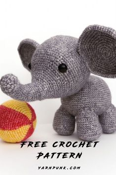 Learn how to get started with amigurumi by making your own crochet elephant! - Crocheting - Stuffed Animals & Toys - Learn how to get started with amigurumi by making your own crochet elephant! Create your own cute l - Crochet Elephant Pattern Free, Crochet Amigurumi Free Patterns, Crochet Animal Patterns, Stuffed Animal Patterns, Crochet Animals, Diy Crochet Elephant, Stuffed Animals, Knitting Patterns, Dinosaur Stuffed Animal