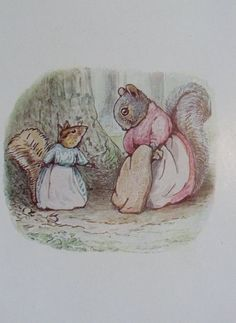 """'The Tale of Timmy Tiptoes', 1911 -- Beatrix Potter. """"'I know where Chippy is; a little bird told me,' said Mrs. Chippy Hackee."""""""