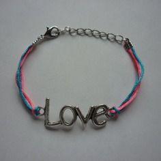 Bracelet love / bleu rose et argenté