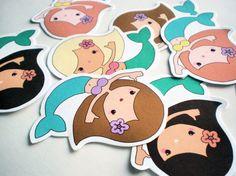 Cute mermaid stickers - pack of 8. $4.00, via Etsy.