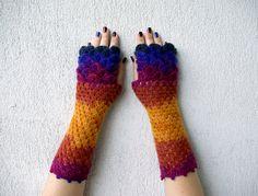 Fingerless mittens  violet magenta orange cute arm by mareshop