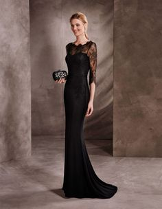 Sheath/Column Jewel Neck Sweep/Brush Train Evening Dress With Lace Beading Black Dress With Sleeves, Prom Dresses Long With Sleeves, Lace Sleeves, Dress Long, Prom Dresses 2017, Wedding Dresses, Party Dresses, Elegant Cocktail Dress, Cocktail Dresses