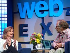 Arianna Huffington being interviewed by Tim O'Reilly at the Web 2.0 Conference at the Javits Center in New York city, 2008.