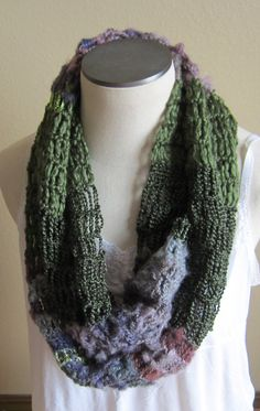 Crochet CowlInfinity ScarfHooded Scarf made with Red by Kitkateden, $25.00