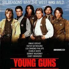 A group of young gunmen, led by Billy the Kid, become deputies to avenge the murder of the rancher who became their benefactor. But when Billy takes their authority too far, they become the hunted. Emilio Estevez, Kiefer Sutherland, Charlie Sheen, 90s Movies, Great Movies, Famous Movies, Awesome Movies, Love Movie, Movie Tv