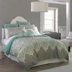 Guest bedroom--Kashmir Duvet Cover Bedding Set - jcpenney {love the color combo and design} Dream Bedroom, Home Bedroom, Master Bedroom, Bedroom Decor, Bedroom Colors, Bedroom Ideas, Pretty Bedroom, Design Bedroom, Bedroom Wall