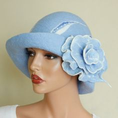 Felted hat blue Light blue hat Decorated blue hat by ZiemskaArt