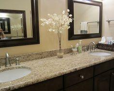 upstairs guest bathroom Giallo Ornamental Granite  w/dark stain.