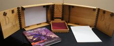 Hardwood Dungeon/Game Master (DM/GM) Screen with Dice Tower and Storage Dungeon Master Screen, Dm Screen, Dice Tower, They See Me Rollin, Light Colored Wood, Pen And Paper, Table Games, Projects To Try, Wood Projects