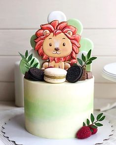 Jungle Birthday Cakes, 1st Birthday Cake For Girls, Animal Birthday Cakes, Jungle Cake, First Birthday Cakes, Cake Chart, Royal Icing Cakes, Happy Anniversary Cakes, Lion Cakes