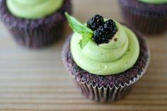 mulberry cupcakes with matcha cream cheese…