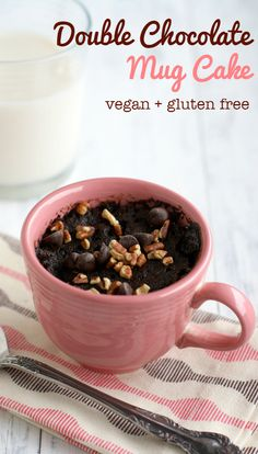 A rich and delicious chocolate mug cake recipe that is gluten free and vegan. #vegan #glutenfree