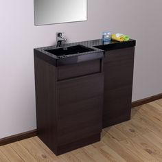 Aston Left Hand Dark Oak Bathroom Black Diamond Basin Vanity Unit & Toilet Unit - 1000mm