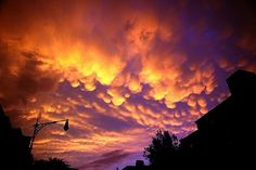 Nothing like some good mammatus clouds. This night it was like everyone in Brooklyn just stopped and stared at the sky. Really awesome. Mammatus Clouds, Northern Lights, Sky, Sunset, Night, Awesome, Travel, Outdoor, Viajes