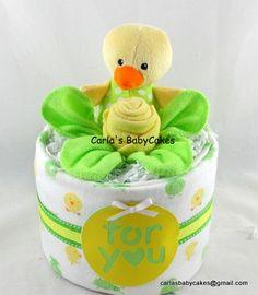 Neutral diaper cake Baby Diaper Cake Baby by MsCarlasBabyCakes